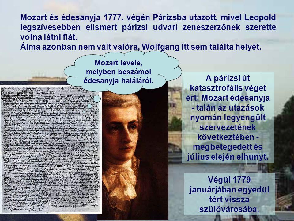 Mozart és édesanyja 1777. végén Párizsba utazott, mivel Leopold legszívesebben elismert párizsi udvari zeneszerzőnek szerette volna látni fiát. Álma a
