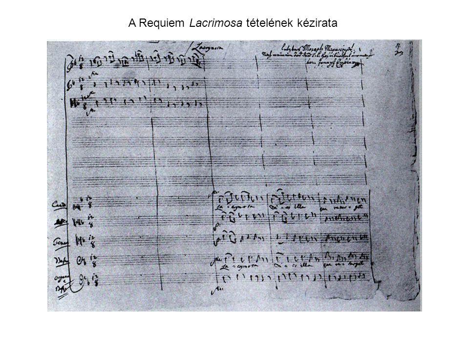 A Requiem Lacrimosa tételének kézirata