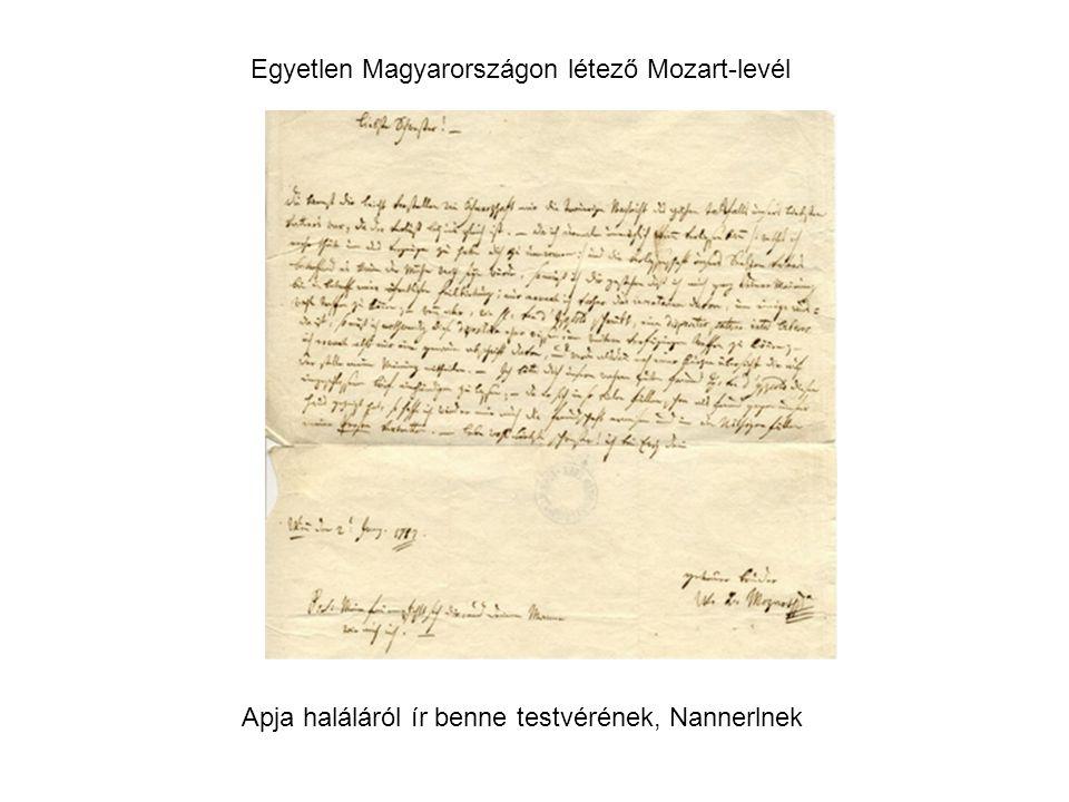 Egyetlen Magyarországon létező Mozart-levél Apja haláláról ír benne testvérének, Nannerlnek