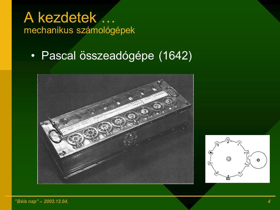 Béla nap – 2002.12.04. 3 A kezdetek … mechanikus számológépek Abakusz