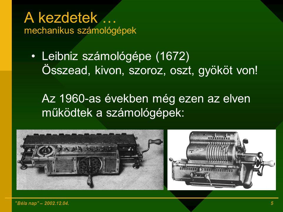 Béla nap – 2002.12.04. 4 A kezdetek … mechanikus számológépek Pascal összeadógépe (1642)