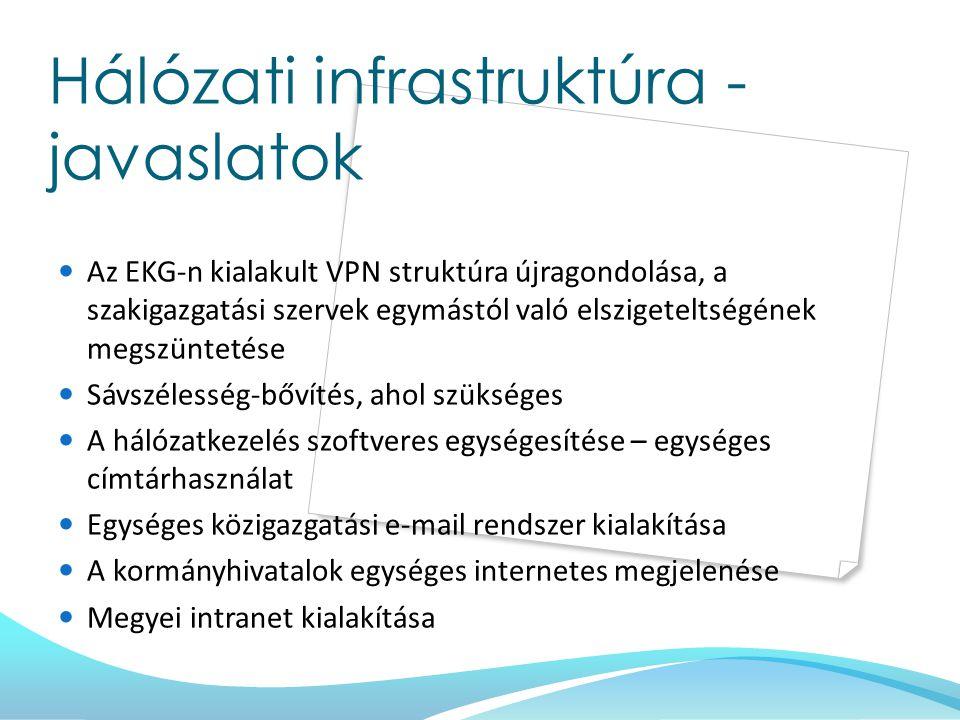 Hálózati infrastruktúra - javaslatok Az EKG-n kialakult VPN struktúra újragondolása, a szakigazgatási szervek egymástól való elszigeteltségének megszü