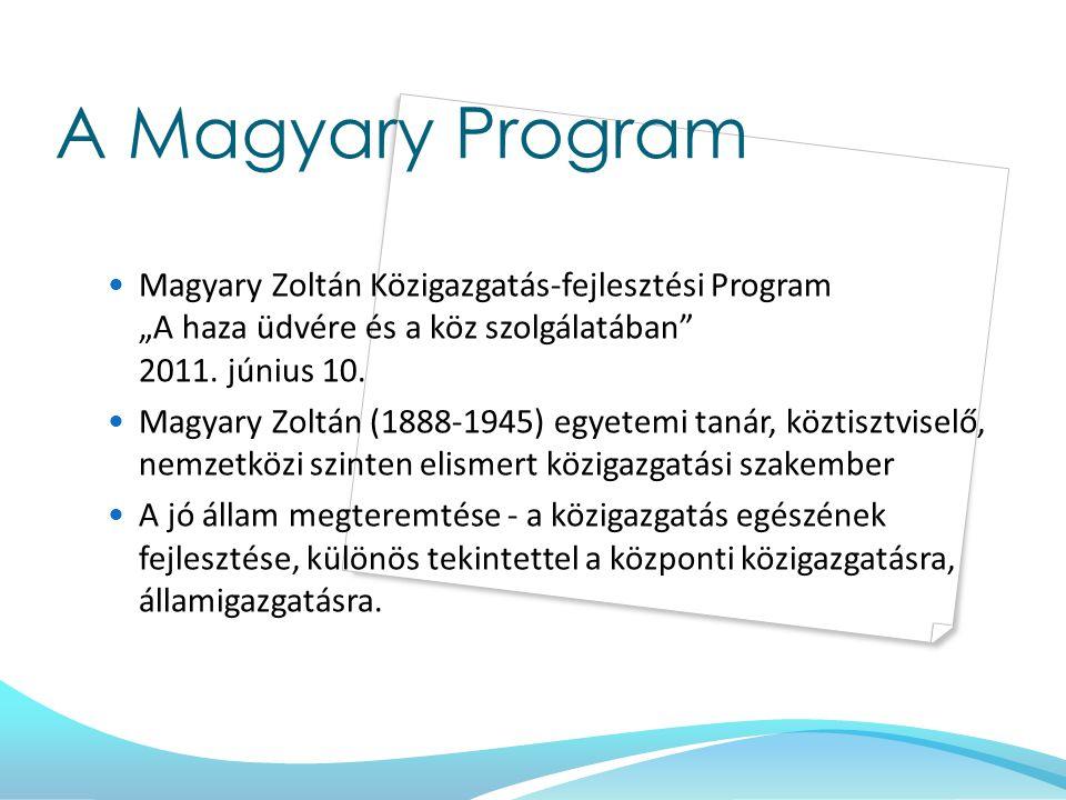 """A Magyary Program Magyary Zoltán Közigazgatás-fejlesztési Program """"A haza üdvére és a köz szolgálatában"""" 2011. június 10. Magyary Zoltán (1888-1945) e"""