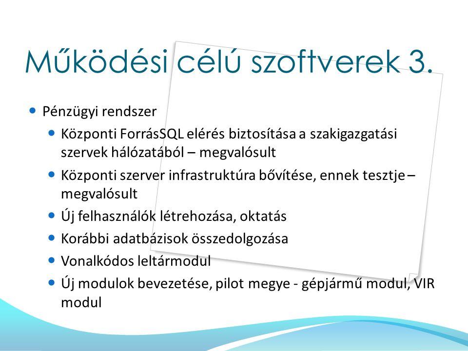 Működési célú szoftverek 3. Pénzügyi rendszer Központi ForrásSQL elérés biztosítása a szakigazgatási szervek hálózatából – megvalósult Központi szerve