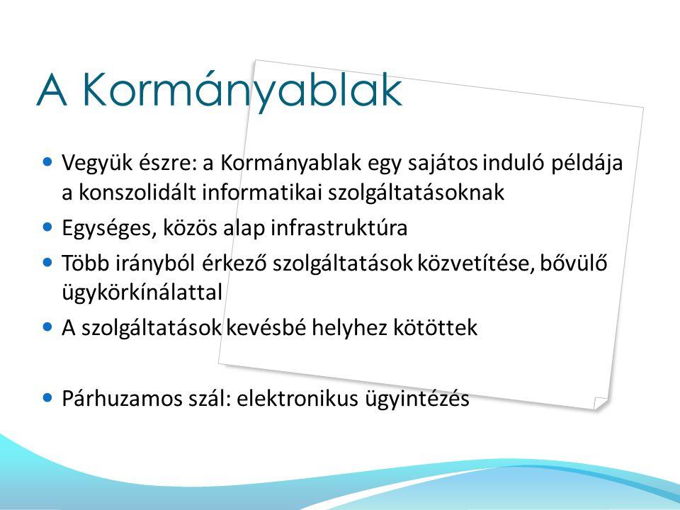 A Kormányablak Vegyük észre: a Kormányablak egy sajátos induló példája a konszolidált informatikai szolgáltatásoknak Egységes, közös alap infrastruktú