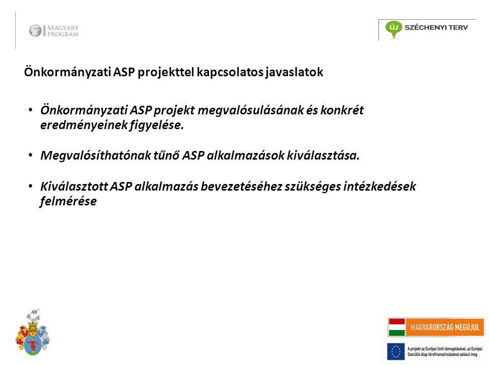 Önkormányzati ASP projekttel kapcsolatos javaslatok Önkormányzati ASP projekt megvalósulásának és konkrét eredményeinek figyelése.