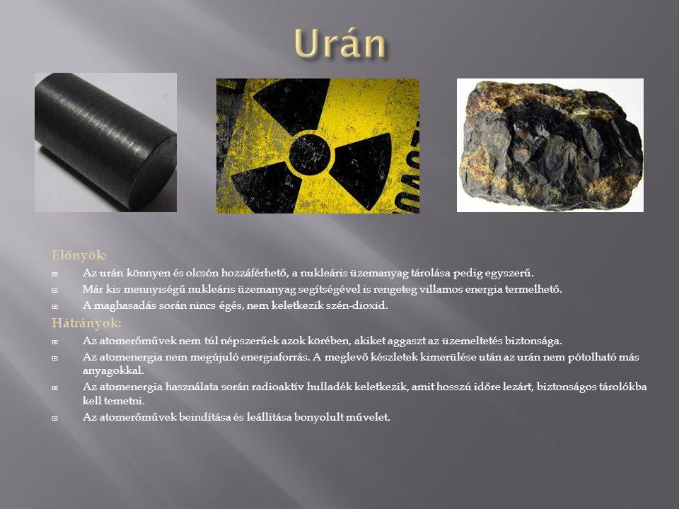 Előnyök :  Az urán könnyen és olcsón hozzáférhető, a nukleáris üzemanyag tárolása pedig egyszerű.  Már kis mennyiségű nukleáris üzemanyag segítségév