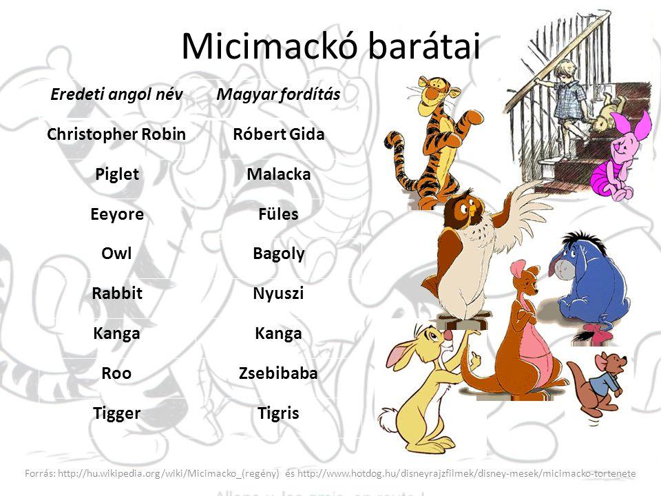 Micimackó barátai Forrás: http://hu.wikipedia.org/wiki/Micimacko_(regény) és http://www.hotdog.hu/disneyrajzfilmek/disney-mesek/micimacko-tortenete Er