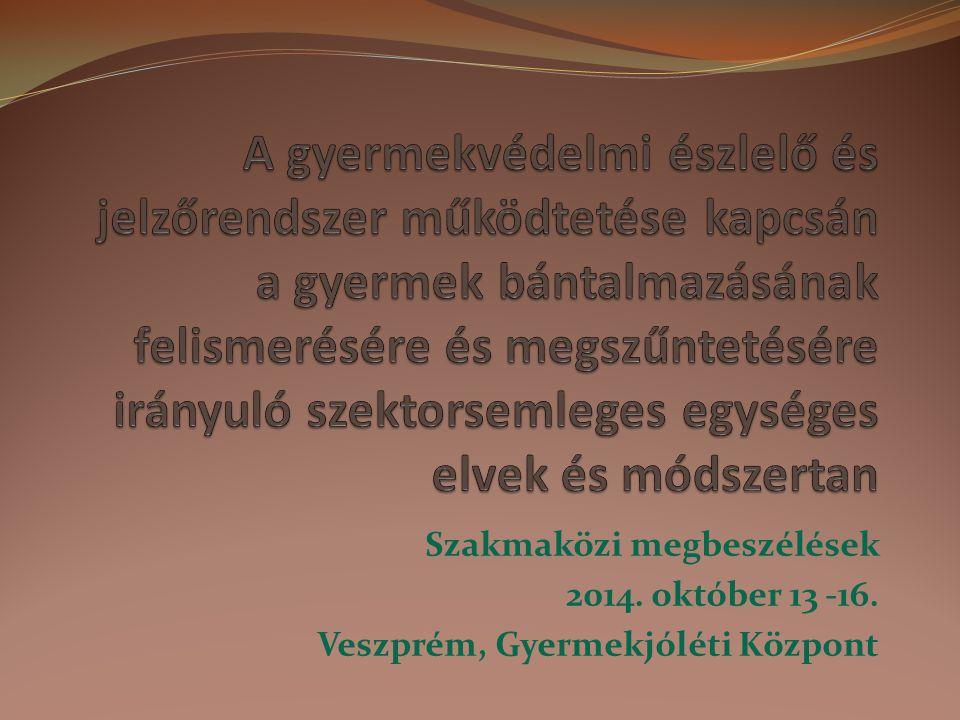 Szakmaközi megbeszélések 2014. október 13 -16. Veszprém, Gyermekjóléti Központ
