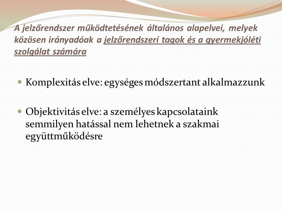 A jelzőrendszer működtetésének általános alapelvei, melyek közösen irányadóak a jelzőrendszeri tagok és a gyermekjóléti szolgálat számára Komplexitás