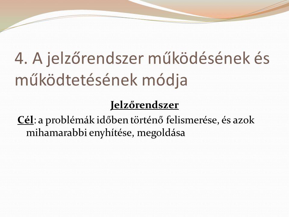 4. A jelzőrendszer működésének és működtetésének módja Jelzőrendszer Cél: a problémák időben történő felismerése, és azok mihamarabbi enyhítése, megol