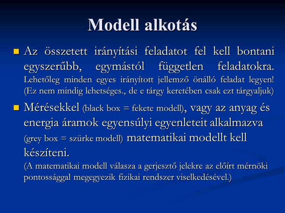Irányítási stratégia Vezérlés Minden az irányított jellemzőre ható fizikai mennyiséget (jellemzőt) mérünk.