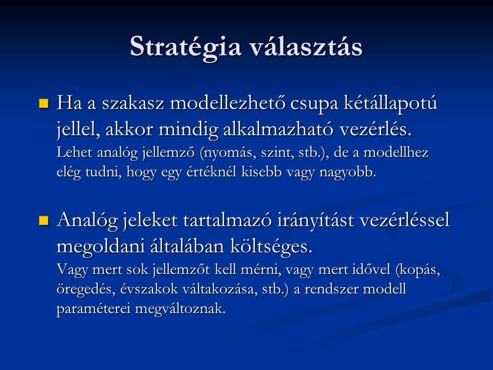 Stratégia választás Ha a szakasz modellezhető csupa kétállapotú jellel, akkor mindig alkalmazható vezérlés. Lehet analóg jellemző (nyomás, szint, stb.