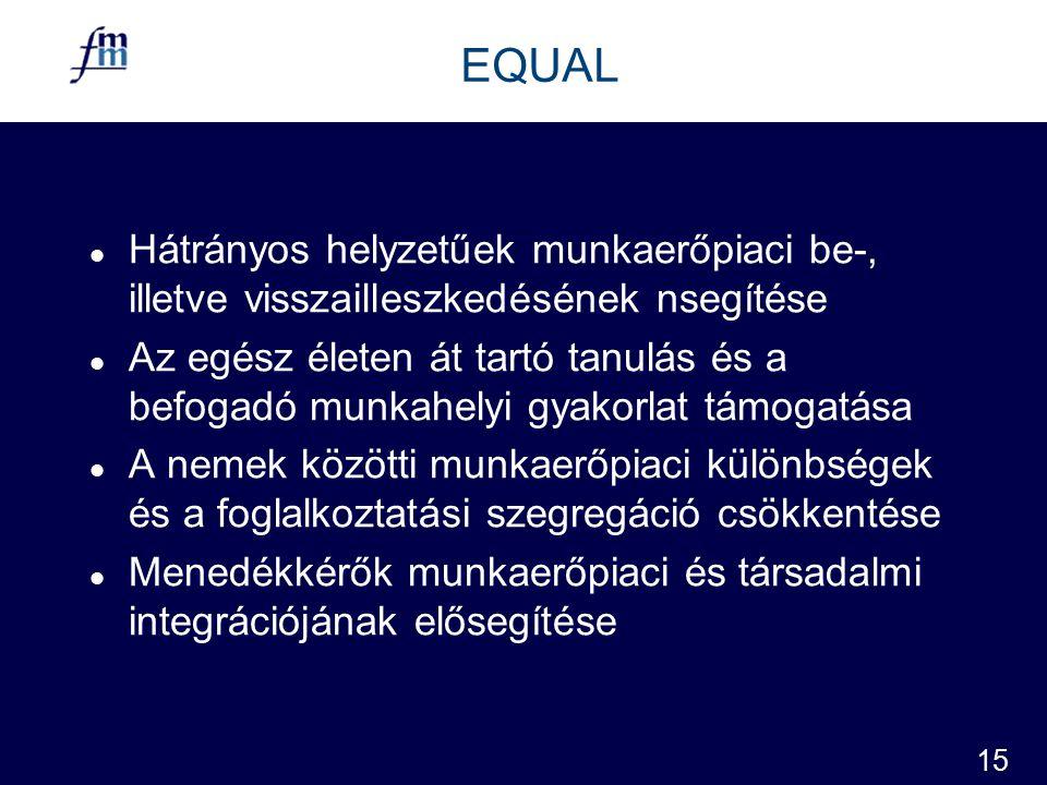 15 EQUAL l Hátrányos helyzetűek munkaerőpiaci be-, illetve visszailleszkedésének nsegítése l Az egész életen át tartó tanulás és a befogadó munkahelyi gyakorlat támogatása l A nemek közötti munkaerőpiaci különbségek és a foglalkoztatási szegregáció csökkentése l Menedékkérők munkaerőpiaci és társadalmi integrációjának elősegítése