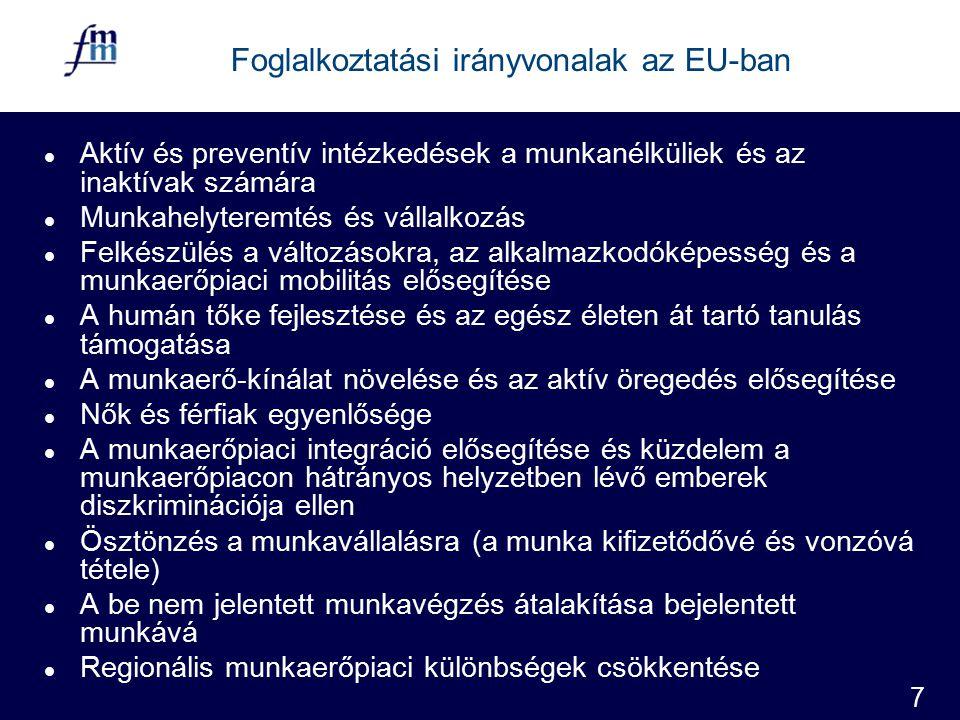 7 Foglalkoztatási irányvonalak az EU-ban l Aktív és preventív intézkedések a munkanélküliek és az inaktívak számára l Munkahelyteremtés és vállalkozás l Felkészülés a változásokra, az alkalmazkodóképesség és a munkaerőpiaci mobilitás elősegítése l A humán tőke fejlesztése és az egész életen át tartó tanulás támogatása l A munkaerő-kínálat növelése és az aktív öregedés elősegítése l Nők és férfiak egyenlősége l A munkaerőpiaci integráció elősegítése és küzdelem a munkaerőpiacon hátrányos helyzetben lévő emberek diszkriminációja ellen l Ösztönzés a munkavállalásra (a munka kifizetődővé és vonzóvá tétele) l A be nem jelentett munkavégzés átalakítása bejelentett munkává l Regionális munkaerőpiaci különbségek csökkentése