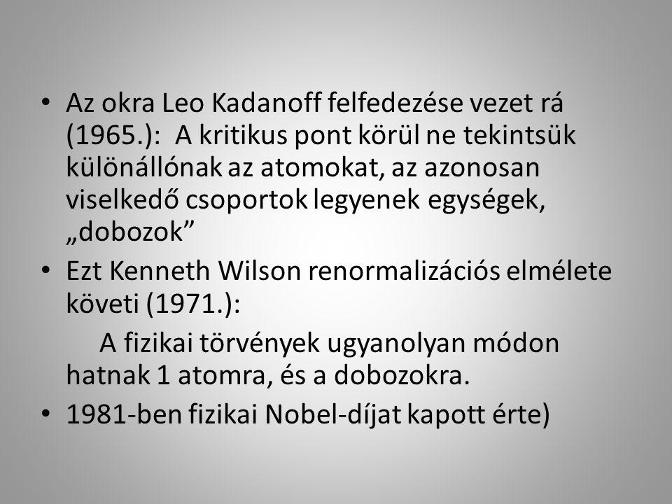 """Az okra Leo Kadanoff felfedezése vezet rá (1965.):A kritikus pont körül ne tekintsük különállónak az atomokat, az azonosan viselkedő csoportok legyenek egységek, """"dobozok Ezt Kenneth Wilson renormalizációs elmélete követi (1971.): A fizikai törvények ugyanolyan módon hatnak 1 atomra, és a dobozokra."""