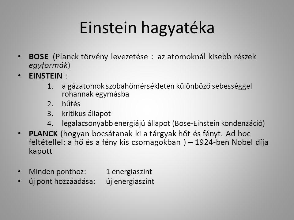 Einstein hagyatéka BOSE (Planck törvény levezetése : az atomoknál kisebb részek egyformák) EINSTEIN : 1.a gázatomok szobahőmérsékleten különböző sebességgel rohannak egymásba 2.hűtés 3.kritikus állapot 4.legalacsonyabb energiájú állapot (Bose-Einstein kondenzáció) PLANCK (hogyan bocsátanak ki a tárgyak hőt és fényt.