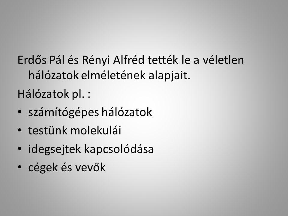 Erdős Pál és Rényi Alfréd tették le a véletlen hálózatok elméletének alapjait.