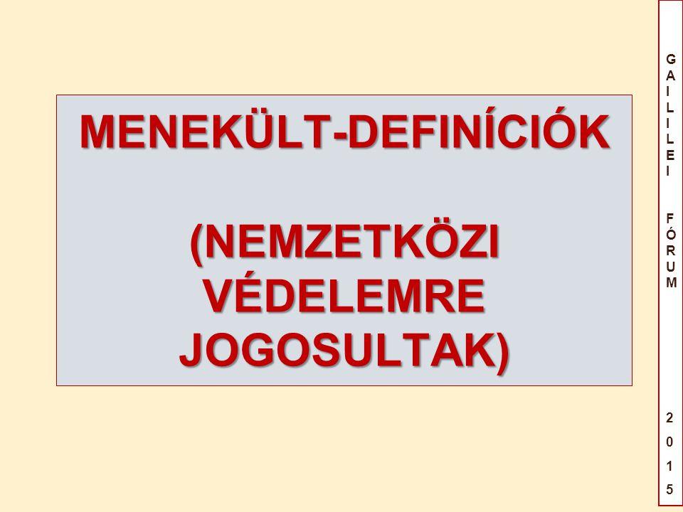 GAILILEIFÓRUM2015GAILILEIFÓRUM2015 MENEKÜLT-DEFINÍCIÓK (NEMZETKÖZI VÉDELEMRE JOGOSULTAK)