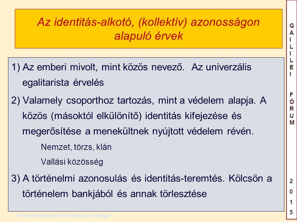 GAILILEIFÓRUM2015GAILILEIFÓRUM2015 Az identitás-alkotó, (kollektív) azonosságon alapuló érvek 1) Az emberi mivolt, mint közös nevező.