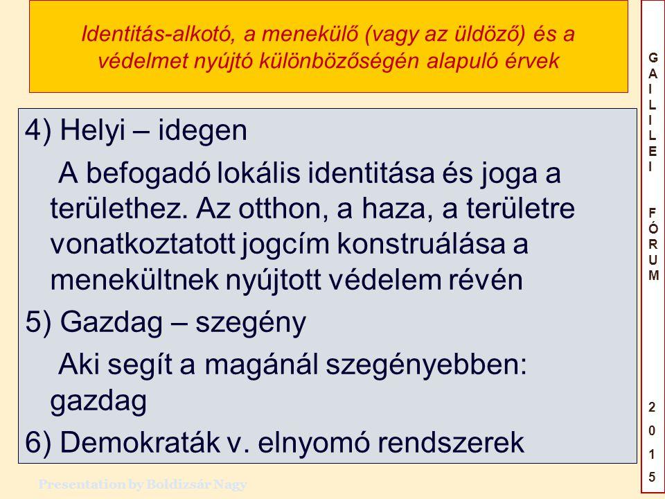 GAILILEIFÓRUM2015GAILILEIFÓRUM2015 Identitás-alkotó, a menekülő (vagy az üldöző) és a védelmet nyújtó különbözőségén alapuló érvek 4) Helyi – idegen A befogadó lokális identitása és joga a területhez.
