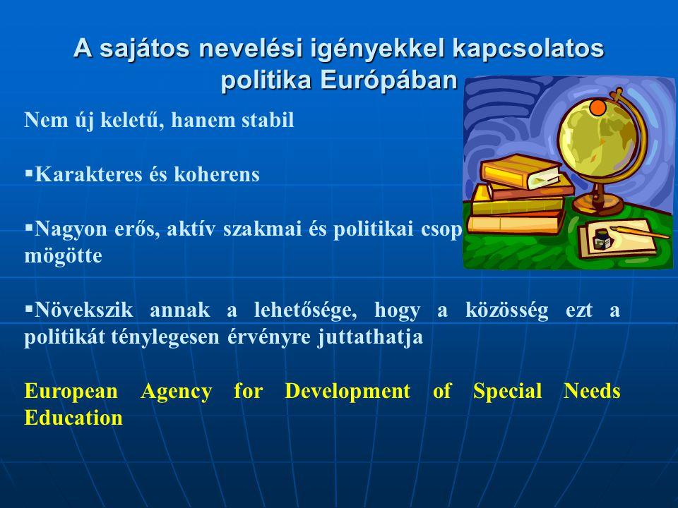 A sajátos nevelési igényekkel kapcsolatos politika Európában Nem új keletű, hanem stabil  Karakteres és koherens  Nagyon erős, aktív szakmai és politikai csoportok találhatók mögötte  Növekszik annak a lehetősége, hogy a közösség ezt a politikát ténylegesen érvényre juttathatja European Agency for Development of Special Needs Education