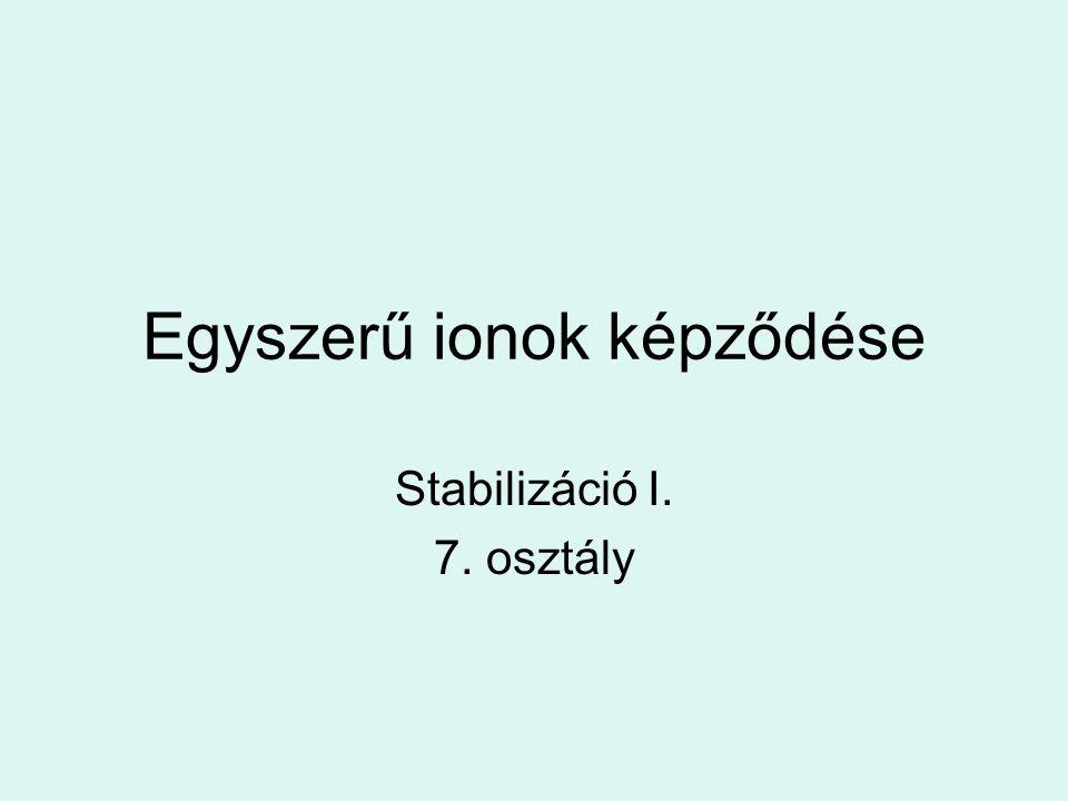 Egyszerű ionok képződése Stabilizáció I. 7. osztály