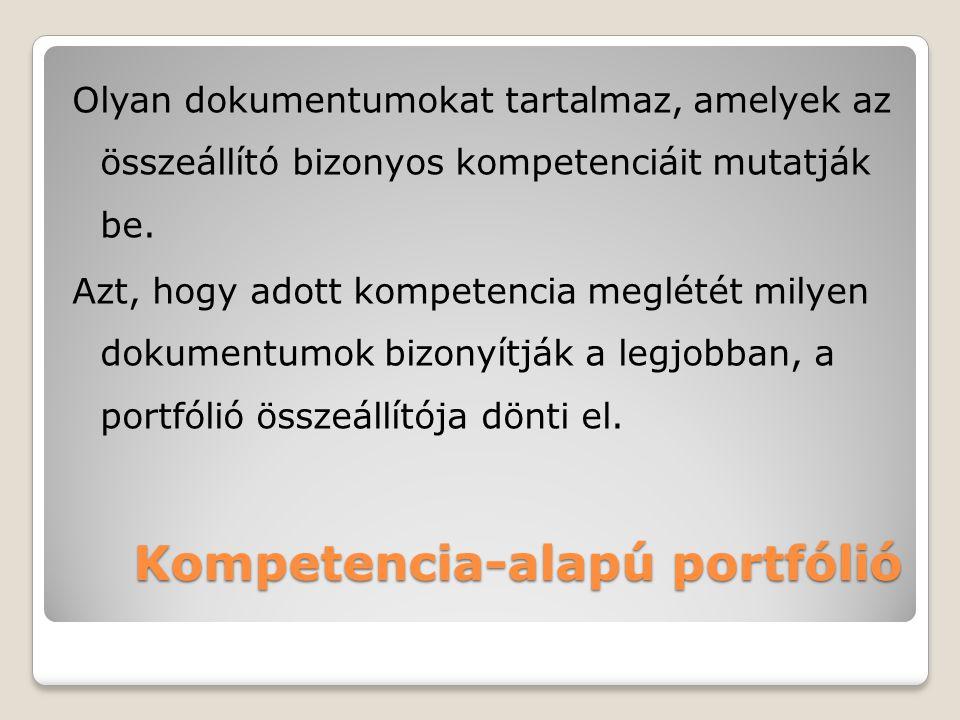 Kompetencia-alapú portfólió Olyan dokumentumokat tartalmaz, amelyek az összeállító bizonyos kompetenciáit mutatják be. Azt, hogy adott kompetencia meg