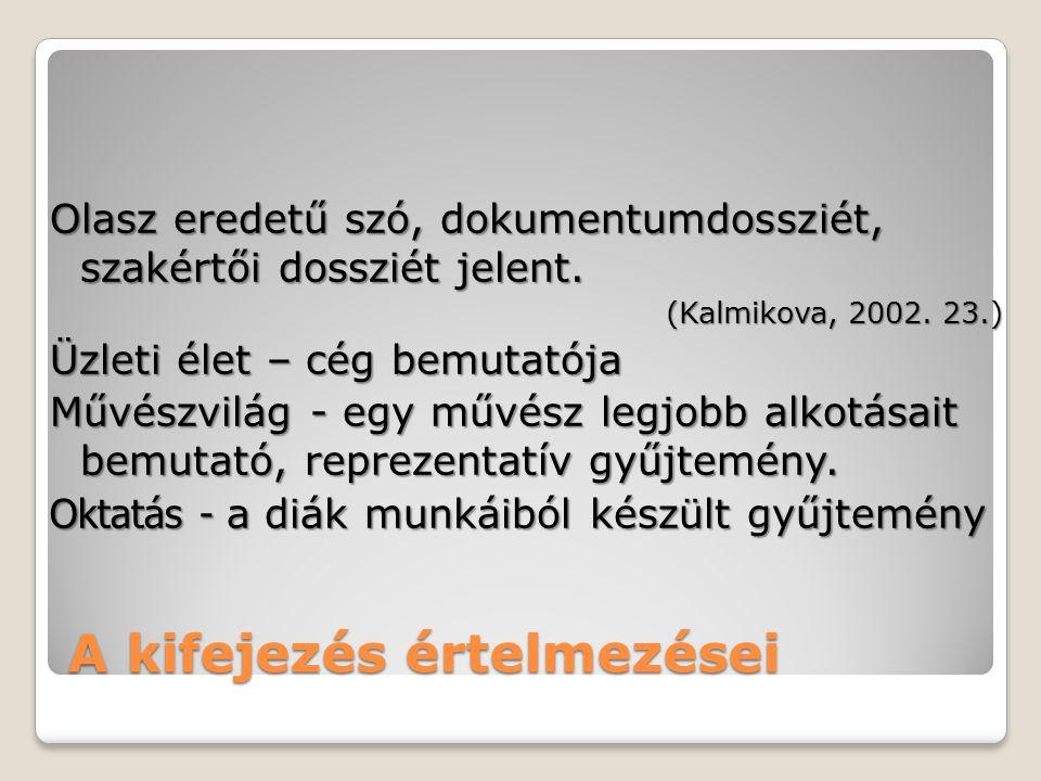 A kifejezés értelmezései Olasz eredetű szó, dokumentumdossziét, szakértői dossziét jelent. (Kalmikova, 2002. 23.) Üzleti élet – cég bemutatója Művészv