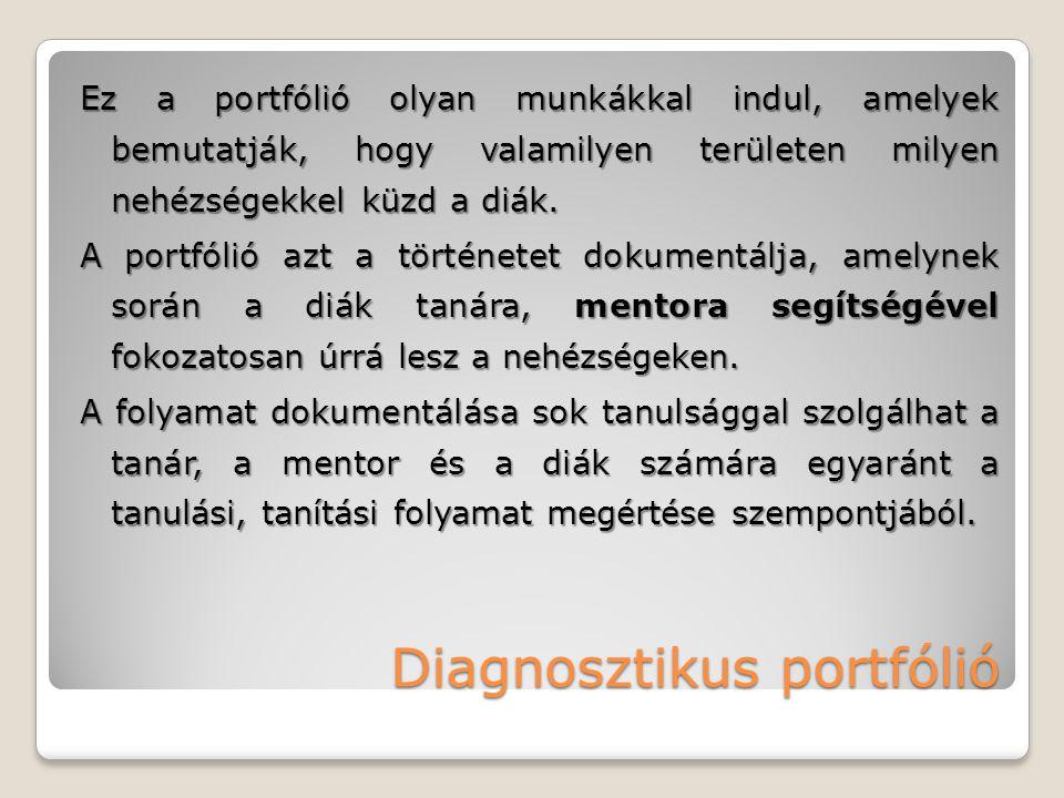 Diagnosztikus portfólió Ez a portfólió olyan munkákkal indul, amelyek bemutatják, hogy valamilyen területen milyen nehézségekkel küzd a diák. A portfó