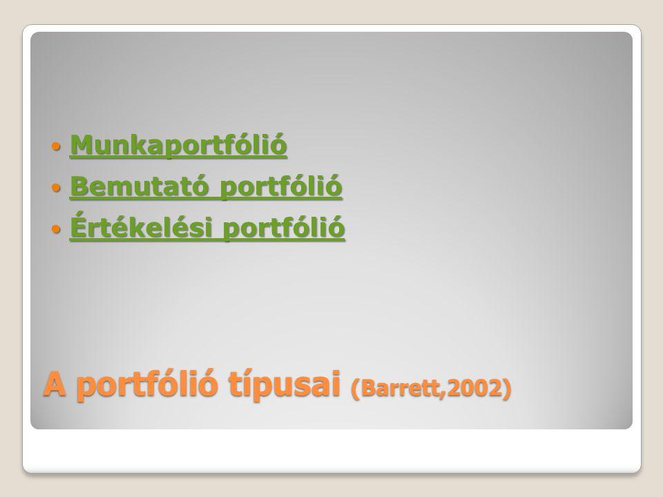 A portfólió típusai (Barrett,2002) Munkaportfólió Munkaportfólió Munkaportfólió Bemutató portfólió Bemutató portfólió Bemutató portfólió Bemutató port