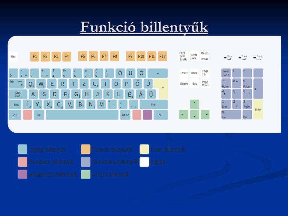 Funkció billentyűk F1-F12 - programonként más és más funkciójuk van. Az F1 általában a súgót jeleníti meg. Ebbe a csoportba vehető még az ESC billenty