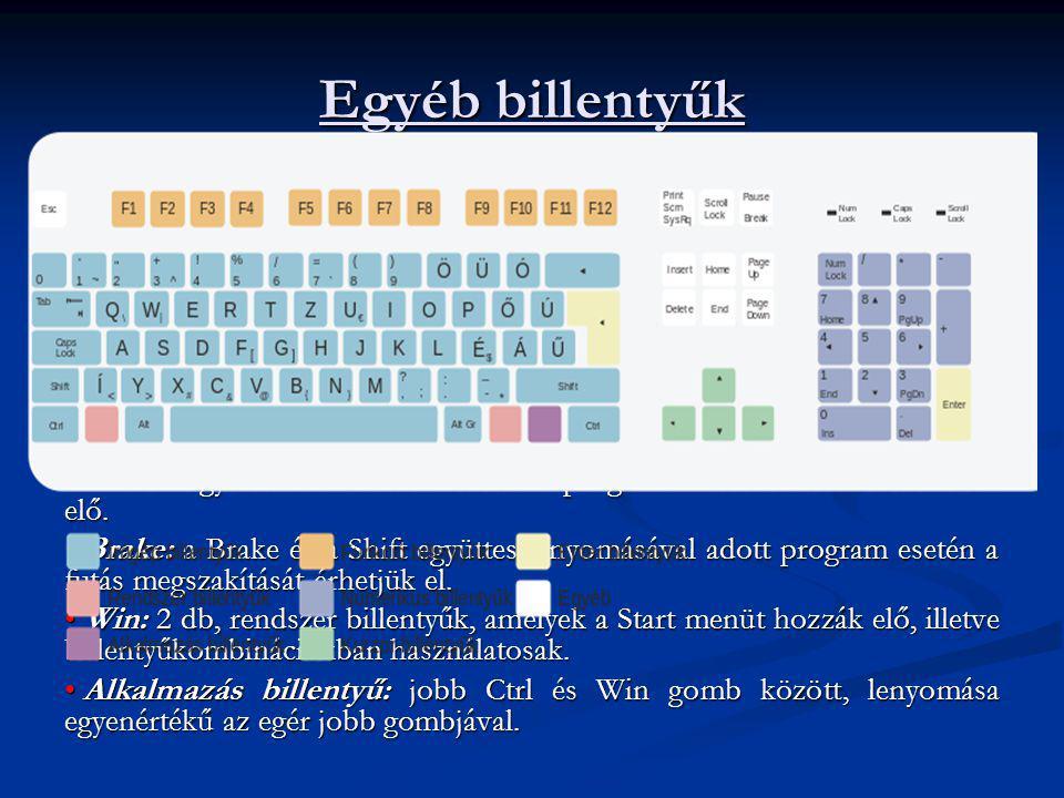 Egyéb billentyűk Print Scrn: a képernyő tartalmát a nyomtatóra (vagy a vágólapra) küldi. A Shift billentyűvel együtt lenyomva kinyomtatja a nyomtatóra