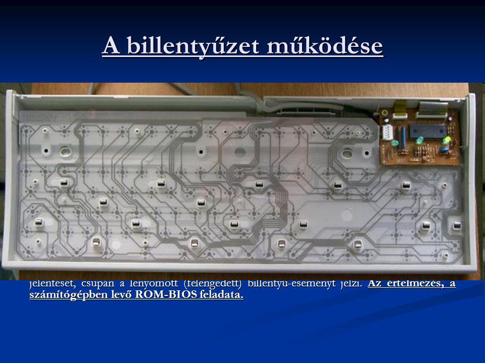 A billentyűzet működése A hardver szempontjából a billentyűzet, egy szinkron kommunikációs port. A PC billentyűzete maga is egy különálló számítógép.
