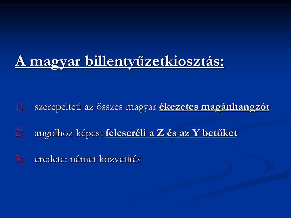 A magyar billentyűzetkiosztás: 1)szerepelteti az összes magyar ékezetes magánhangzót 2)angolhoz képest felcseréli a Z és az Y betűket 3)eredete: német