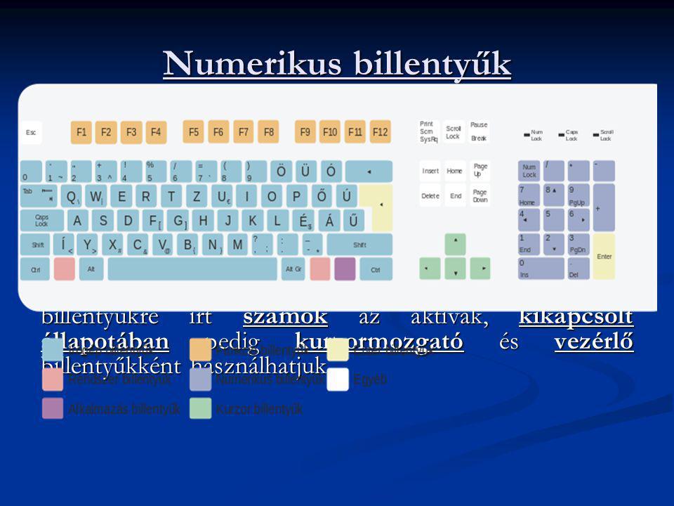 Numerikus billentyűk Itt találhatóak a számok, valamint különböző műveleti jelek. Nagyban hasonlít egy számológép billentyűzetéhez, ezért használata e