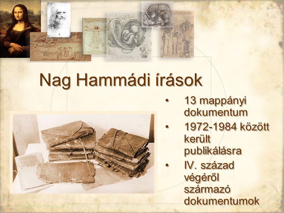 Nag Hammádi írások 13 mappányi dokumentum 1972-1984 között került publikálásra IV.