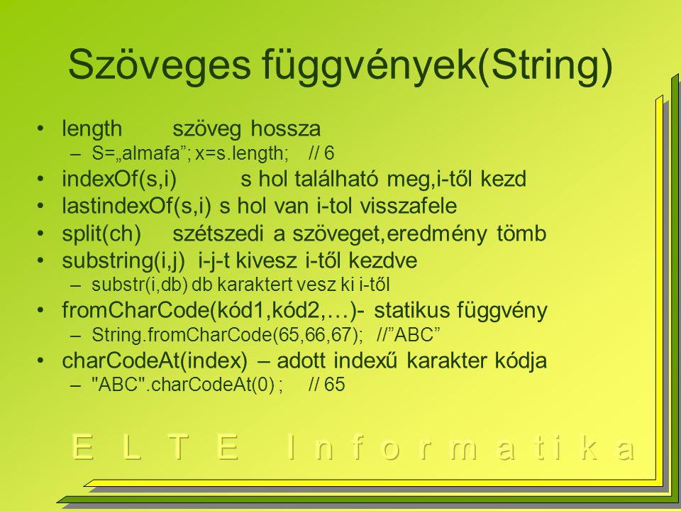"""Szöveges függvények(String) lengthszöveg hossza –S=""""almafa ; x=s.length;// 6 indexOf(s,i)s hol található meg,i-től kezd lastindexOf(s,i) s hol van i-tol visszafele split(ch)szétszedi a szöveget,eredmény tömb substring(i,j) i-j-t kivesz i-től kezdve –substr(i,db) db karaktert vesz ki i-től fromCharCode(kód1,kód2,…)- statikus függvény –String.fromCharCode(65,66,67);// ABC charCodeAt(index) – adott indexű karakter kódja – ABC .charCodeAt(0) ;// 65"""