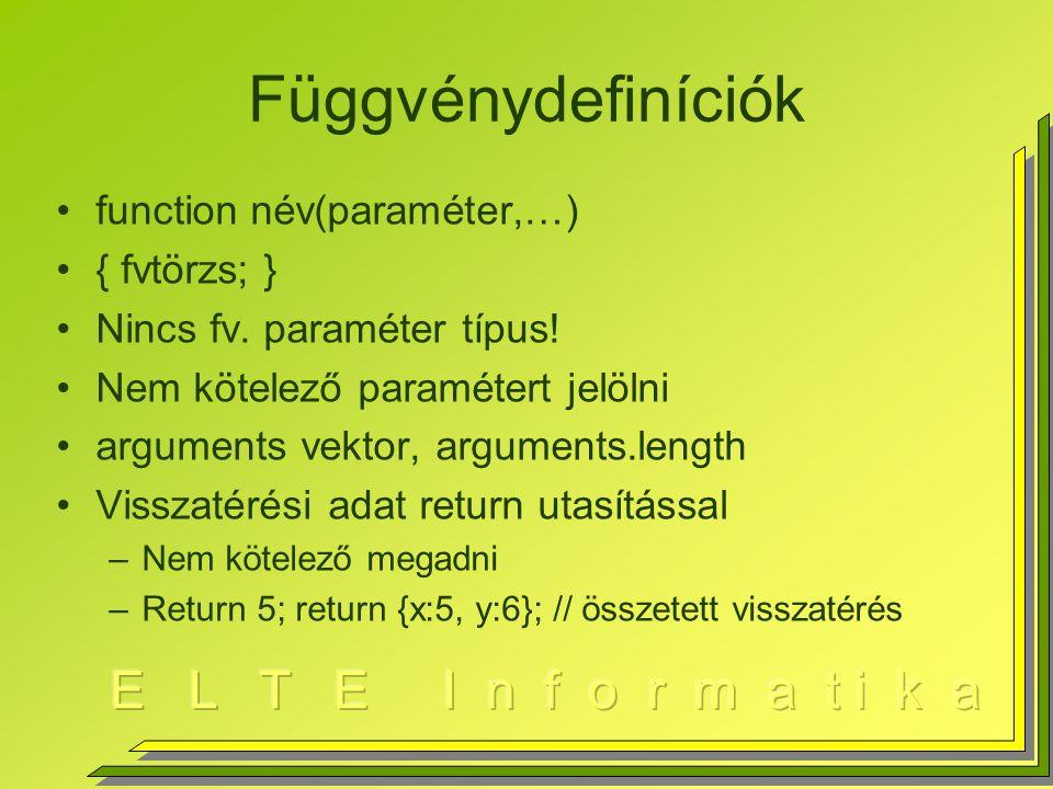 Függvénydefiníciók function név(paraméter,…) { fvtörzs; } Nincs fv.