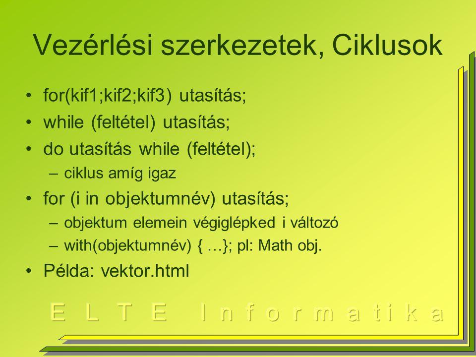 Vezérlési szerkezetek, Ciklusok for(kif1;kif2;kif3) utasítás; while (feltétel) utasítás; do utasítás while (feltétel); –ciklus amíg igaz for (i in objektumnév) utasítás; –objektum elemein végiglépked i változó –with(objektumnév) { …}; pl: Math obj.