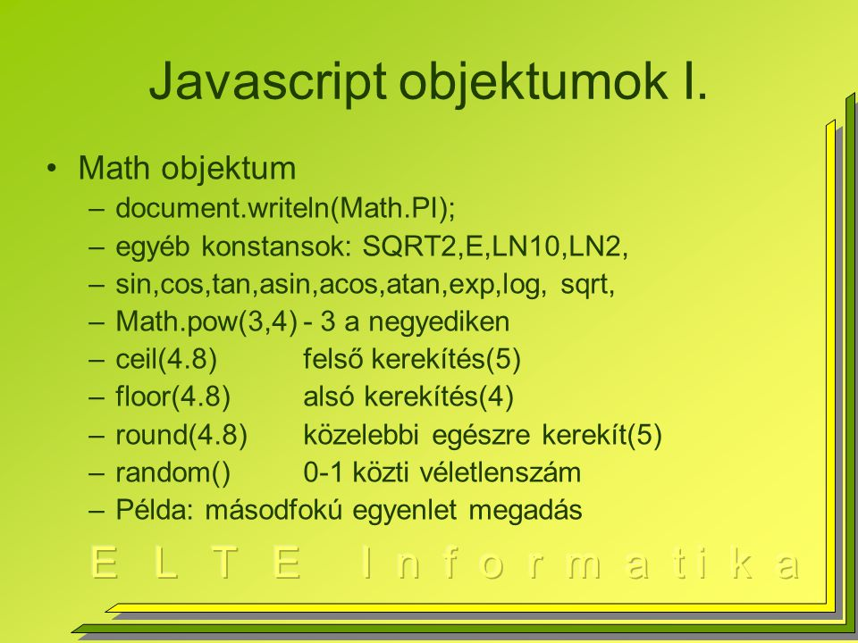 Javascript objektumok I.
