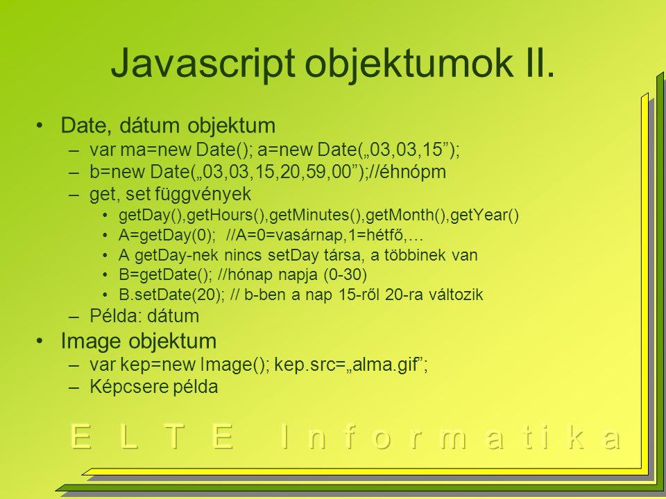 Javascript objektumok II.