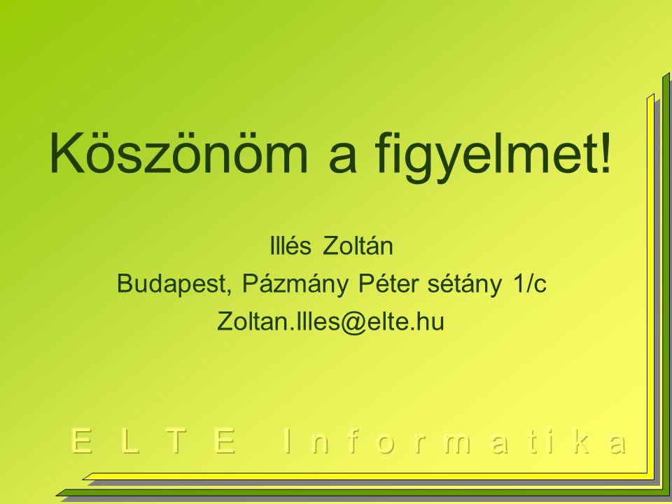Köszönöm a figyelmet! Illés Zoltán Budapest, Pázmány Péter sétány 1/c Zoltan.Illes@elte.hu