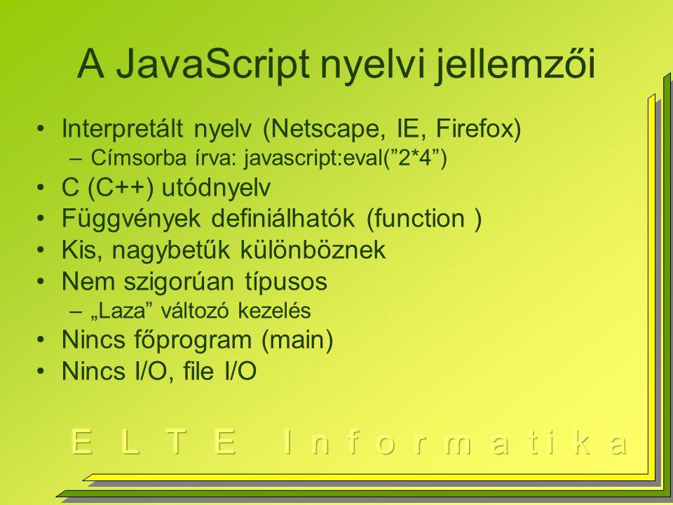 Javascript felhasználása Futásidejű HTML generálás Űrlapmezők ellenőrzése Helyi üzenetek (alert, confirm, prompt,…) CGI helyi, előfeldolgozása Nyelvi elemek + HTML DOM Nyelvi elemek + XML DOM AJAX