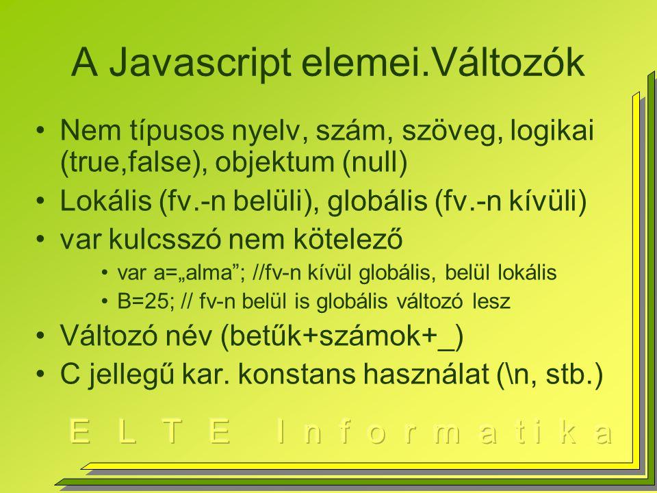 """A Javascript elemei.Változók Nem típusos nyelv, szám, szöveg, logikai (true,false), objektum (null) Lokális (fv.-n belüli), globális (fv.-n kívüli) var kulcsszó nem kötelező var a=""""alma ; //fv-n kívül globális, belül lokális B=25; // fv-n belül is globális változó lesz Változó név (betűk+számok+_) C jellegű kar."""