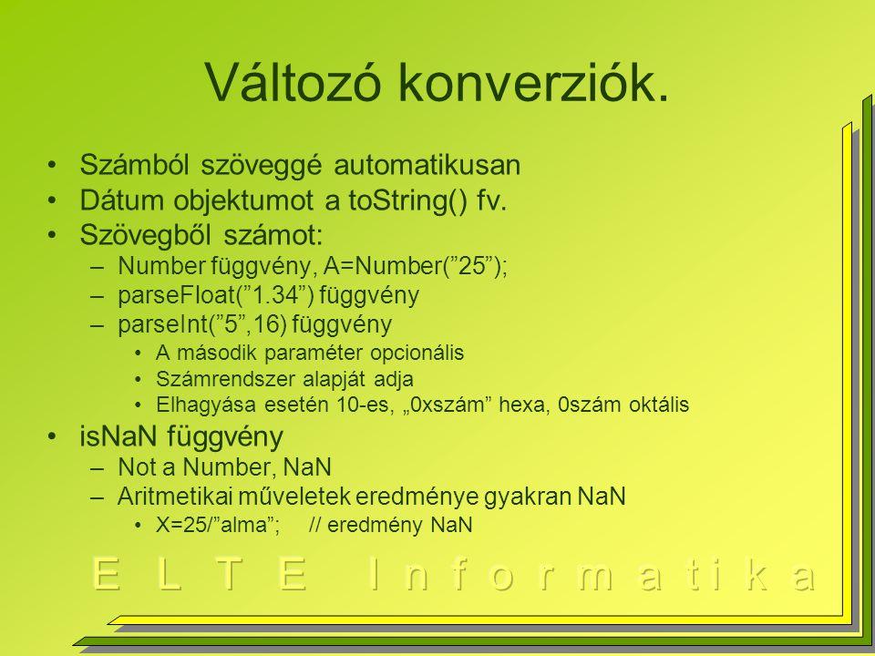 Változó konverziók. Számból szöveggé automatikusan Dátum objektumot a toString() fv.