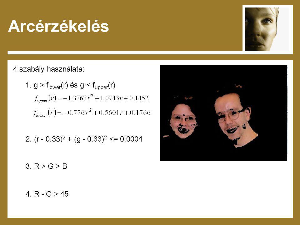 Arcérzékelés 4 szabály használata: 1. g > f lower (r) és g < f upper (r) 2. (r - 0.33) 2 + (g - 0.33) 2 <= 0.0004 3. R > G > B 4. R - G > 45