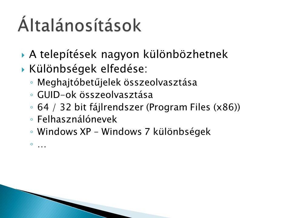  Cuckoo Sandbox ◦ Windows 7 ◦ Cuckoo kiegészítések  Procmon ◦ Bootlog-készítés ◦ Automatizálás  Sok minta futtatása automatizáltan