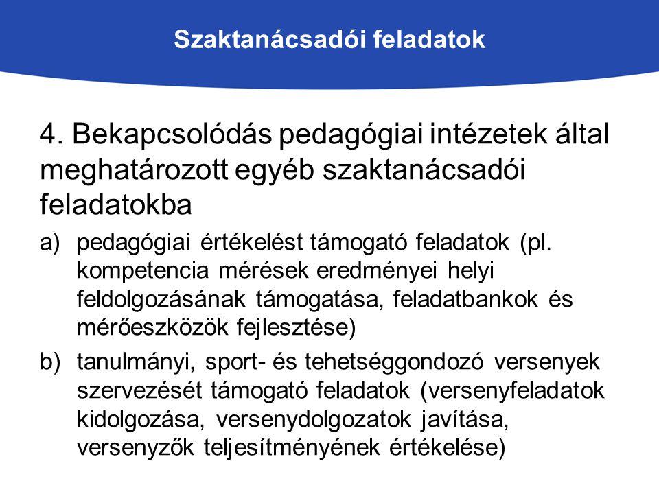 Szaktanácsadói feladatok 4. Bekapcsolódás pedagógiai intézetek által meghatározott egyéb szaktanácsadói feladatokba a)pedagógiai értékelést támogató f