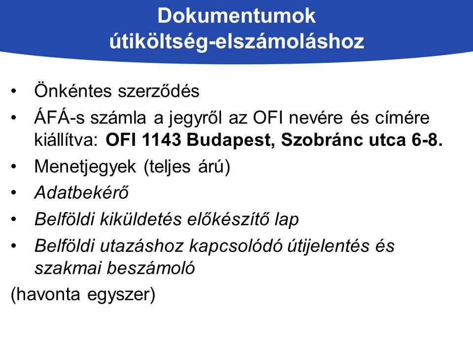 Dokumentumok útiköltség-elszámoláshoz Önkéntes szerződés ÁFÁ-s számla a jegyről az OFI nevére és címére kiállítva: OFI 1143 Budapest, Szobránc utca 6-